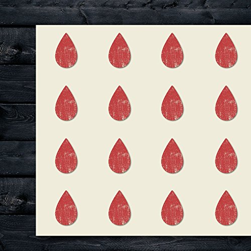 Drop Blood Craft Stickers, 44 Stickers at 1.5 Inches, Great Shapes for Scrapbook, Party, Seals, DIY Projects, Item 671032
