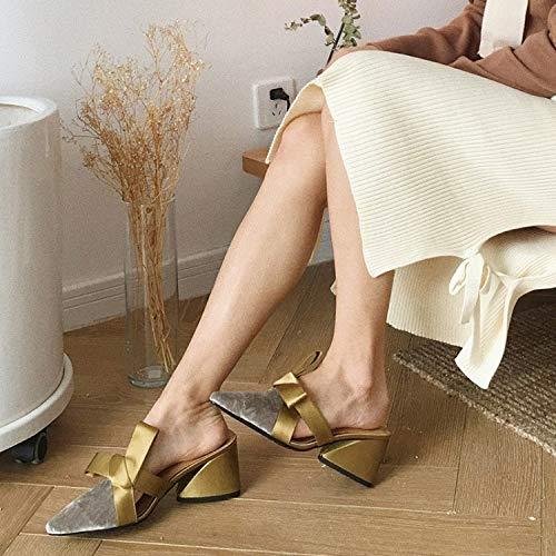 Jia Y Al grey De Nuevas Mujeres 37 Alto Aire Sin Gruesas Zapatos Para Perezosas Libre Baotou Hong Medias Grey Zapatillas Tacón Mulas Puntiagudo 35 rwRSaqxrX0