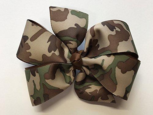 (Girls Brown Green Tan Camouflage Hair Bow Teen Hair Accessory Camo Barrette)