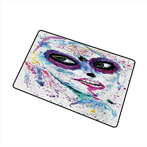 Entrance Door mat Girls Grunge Halloween Lady with Sugar Skull Make Up Creepy Dead Face Gothic Woman Artsy W31 xL47 Non-Slip Door mat pad Machine can be Washed -
