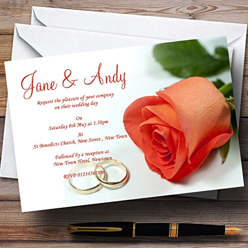 Orange Coral Peach Rose Rings Personalized Wedding Invitations