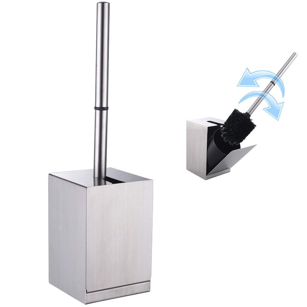 Detachable Toilet Brush Holder, Aomasi SUS 304 Stainless Steel Modern Square Bowl Scrubber with Cover, Good Grip Cleaner Brush with Canister, Wall Mounted or Freestanding, Brushed Nickel