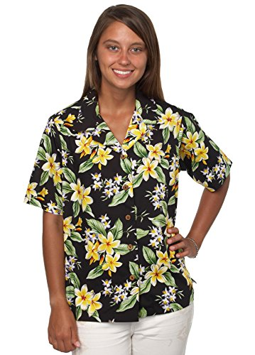 Bennys Womens Floral Plumeria and Orchids Hawaiian Shirt