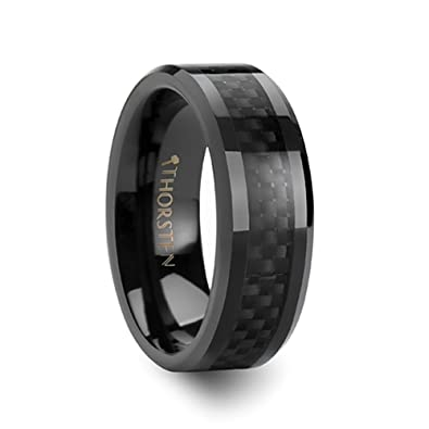 onyx black carbon fiber inlaid black ceramic wedding band 8 mm 5 - Black Onyx Wedding Ring