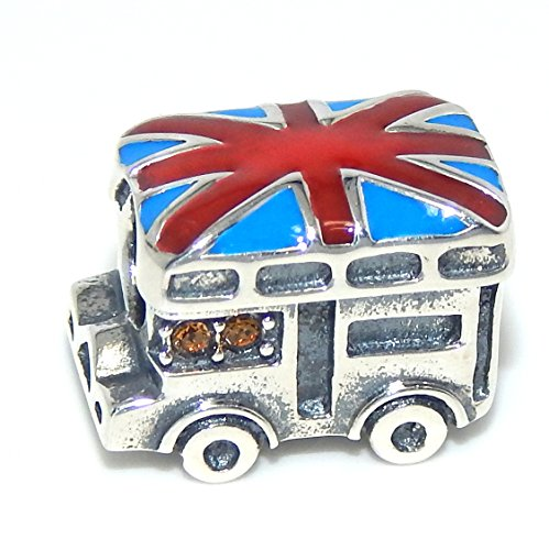 Pro Jewelry 925 Solid Sterling Silver London Tour Bus with Blue Crystals Charm Bead