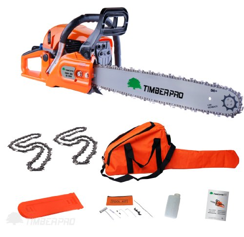 Timberpro 62cc Petrol Chainsaw, 20' Bar & 2x Saw Chain. Alloy & Assisted Start