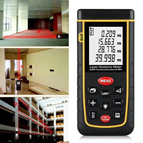 Home+Inspector Products : Asiacc 60M/196ft Distance Measure Meter, Handheld Distance/Area/Volume Rangefinder Tool with Bubble level for Home Installation, Building Inspector-100 Data Storage