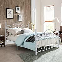 Carlynn Classical White Finished Iron Queen Bed Frame