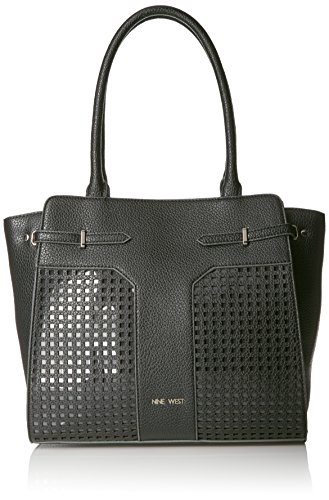 Nine West Gleam Team Wing Satchel, Black/Black/Clear