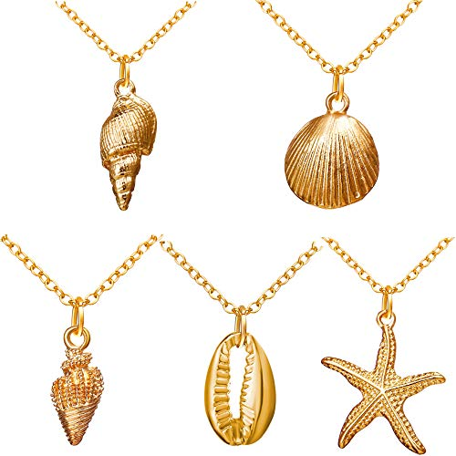 17KM 5PCS Marine Style Pendant Necklace for Women Summer Conch Shell Starfish Necklace Set for Girl Simple Bestfriend -