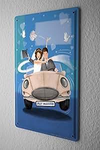 Just Married Cartel de chapa Placa metal tin sign Decorativa apenas coche casado 20X30 cm Letrero De Metal Poster Pared