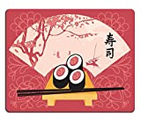 Luxlady Gaming Mousepad IMAGE ID: 35994301 Sushi on a tray with chopsticks on a background of a fan with a picture of spring landscape with lake and trees Character Sushi