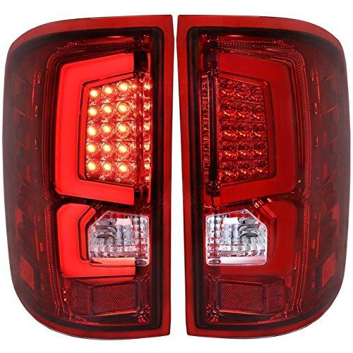 AJP Distributors Tube LED Tail Light Lamp Lights Lamps For GMC Sierra 1500 2500 3500 HD 2007 2008 2009 2010 2011 2012 2013 2014 07 08 09 10 11 12 13 14 (Chrome Housing Red Lens White Tube) ()