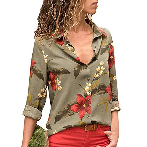 (Cyose Fashion Women Color Block Stripe Button Florales Tops Chemise Femme Army M )