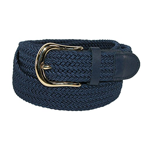 CTM Men's Elastic Stretch Belt with Gold Buckle and Matching Tabs, Medium, Navy