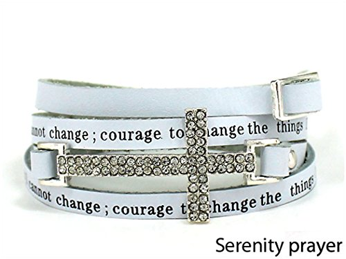 Crystal Silver tone Serenity Leather Bracelet product image