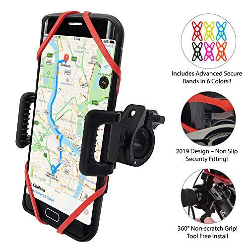 TruActive - New Premium Edition! - Anti-Shake Universal Bike Phone Holder Mount for Bicycle, Motorcycle, ATV, Mountain Bike - 360° Rotate - iPhone. Samsung, Huawei, Google, etc. - 6 Colors Included! (Motorcycle Bike Atv)