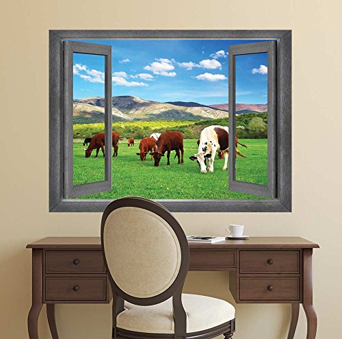 Open Window Creative Wall Decor Cows Roaming in a Field Wall Mural