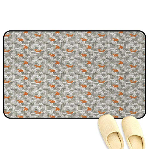- homecoco Fox Office Chair Mat Small Animals of The European Forests Doodle Style Floral Arrangement Resheda Green Orange White 3D Digital Printing Mat W24 x L35 INCH