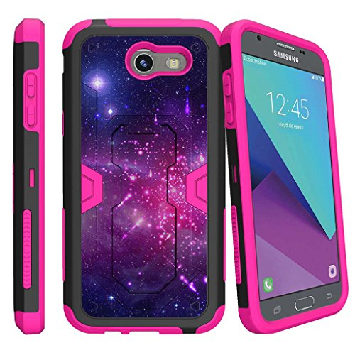 MINITURTLE Case Compatible w/ Case for [Samsung Galaxy Sol 2 | Express Prime 2 | Amp Prime 2 | J3 Mission][PINK MAX DEFENSE] Heavy Duty Hybrid Case w/ Slim Built in Stand Clip Heavenly Stars (Heavenly Stars)