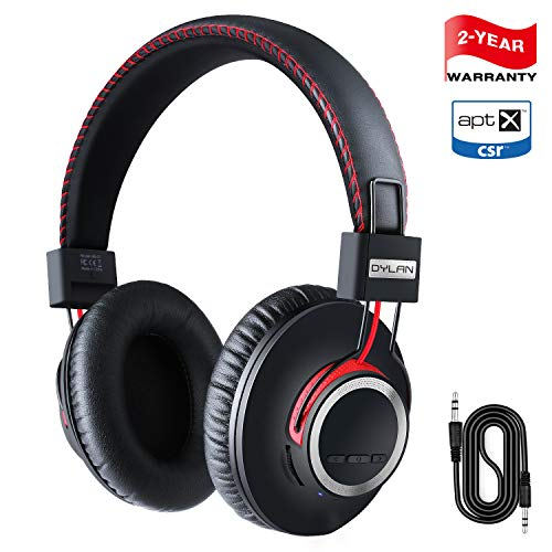 Over Ear Bluetooth Headphones{2019 Newest version} Wireless Headset - High End CSR8645 Chip Apt-X Lossless Hi-Fi Stereo, Handmade Style Extra Comfortable and Lightweight, Deep Bass Headset with Mic]()
