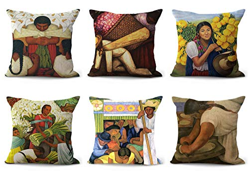 (WholesaleSarong Set of 6 Diego Rivera Mexican Art Cushion Covers Decorative Throw Pillow case for Sofa)