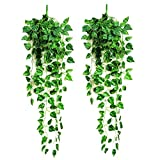 LEFV™ Artificial Ivy Garland Silk Hanging Vine Plant Faux Green Leaf Indoor Outdoor Wedding Christmas Home Garden Wall Decorations, Pack of 2 (Scindapsus)