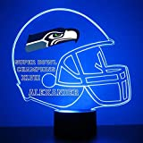 Mirror Magic Store Seattle Seahawks Football Helmet LED Night Light with Free Personalization - Night Lamp - Table Lamp - Featuring Licensed Decal