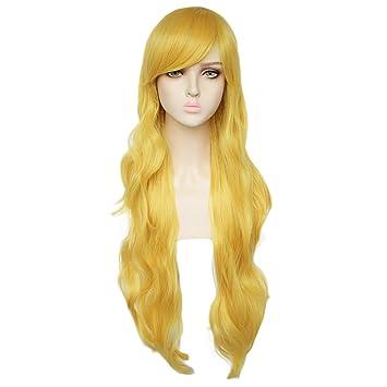 Amazon.com : JoneTing Long Yellow Wig Cosplay