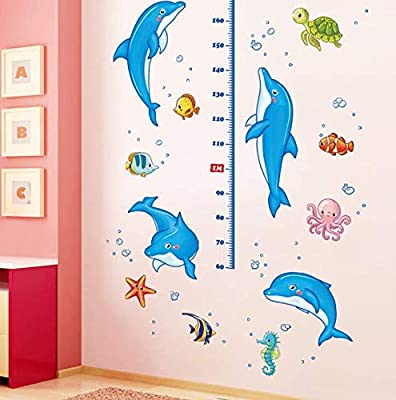 Diy Dolphin Height Measure Wall Stickers For Kids Bedroom