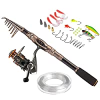 PLUSINNO Fishing Rod and Reel Combos Carbon Fiber Telescopic Fishing Rod with Reel Combo Sea Saltwater Freshwater Kit Fishing Rod Kit (Full Kit with Carrier Case, 2.7M 8.86FT)