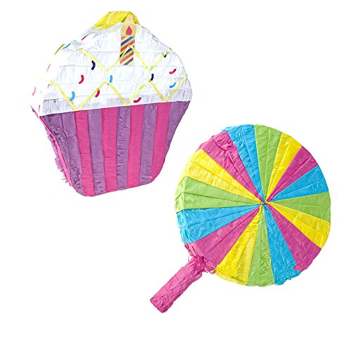 Homeford Colorful Cupcake and Lollipop Pinata, Multi-Color, Assorted Sizes, 2-Piece (Pull String Pinata Cupcake)