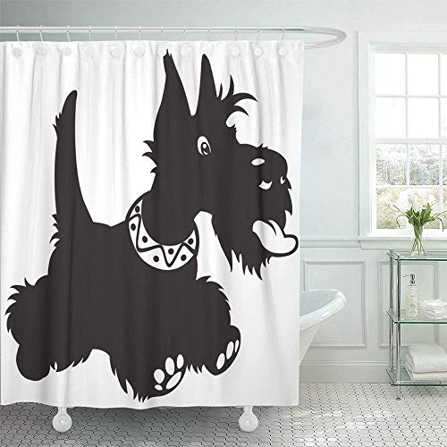 Staromia Shower Curtain Waterproof Polyester Fabric 72 x 72 inches Vet Dog Scottish Terrier Black and White Cartoon Aberdeen Adorable Alone Animal Set with Hooks Decorative Bathroom