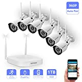 Wireless Security Camera System,Safevant Full-HD 8CH Video Security System with 6pcs 960P Wireless Security Cameras,65ft Night Vision,1TB HDD Pre-installed ,Auto-Pair,Plug&Play