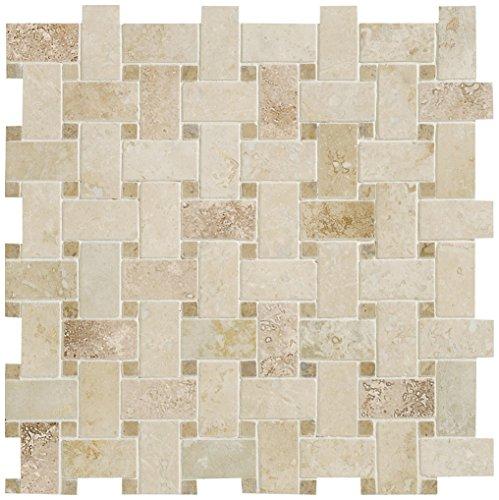 Dal-Tile T3242BSKTWVMS1U Travertine Tile TURCO Classico Basketweave HONED Mosaic x 17 3/4