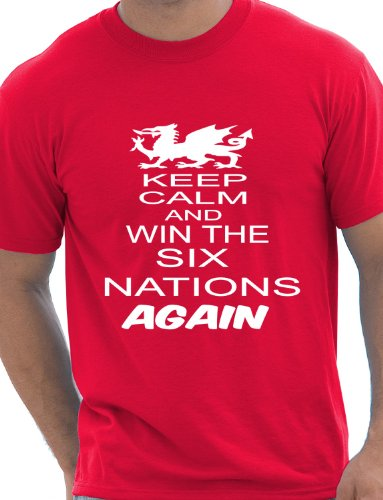 Print4U Rugby Wales Welsh Win 6 Nations Again World Cup Mens T-Shirt Unisex XX-Large Red Wales Rugby Six Nations