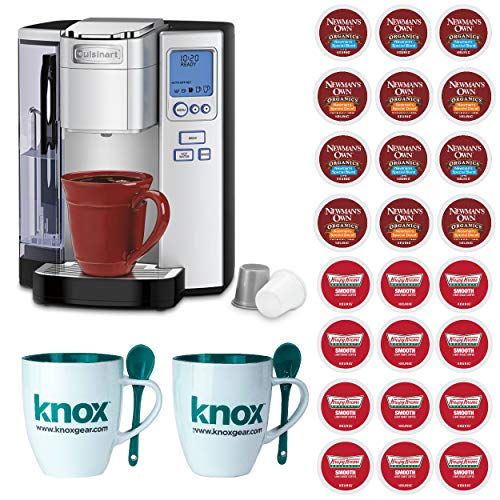 Cuisinart SS-10 Premium Single-Serve Coffeemaker, Silver Includes 24 Assorted K-Cups and 2 Mugs Bundle