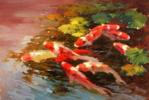 Oil Painting 'Carps In The Pond' Printing On Perfect Effect Canvas , 8x12 Inch / 20x30 Cm ,the Best Gym Artwork And Home Gallery Art And Gifts Is This Beautiful (Kenny And Dolly Halloween Costumes)