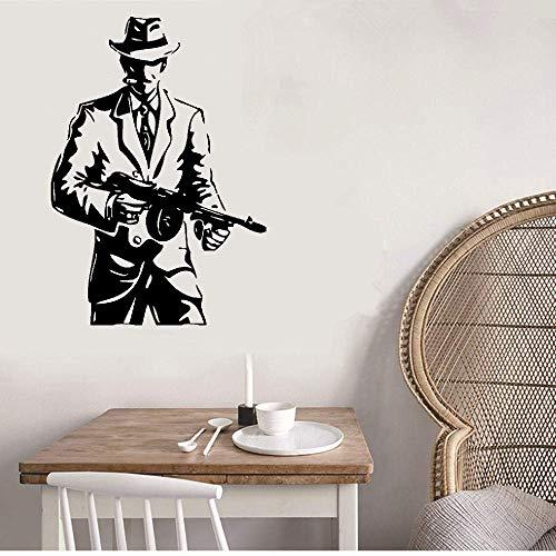 ffahr Motivational Wall Sticker Quotes Wall Gangster Hat and Cigar Gun Weapons Mafia Tommy-Gun -