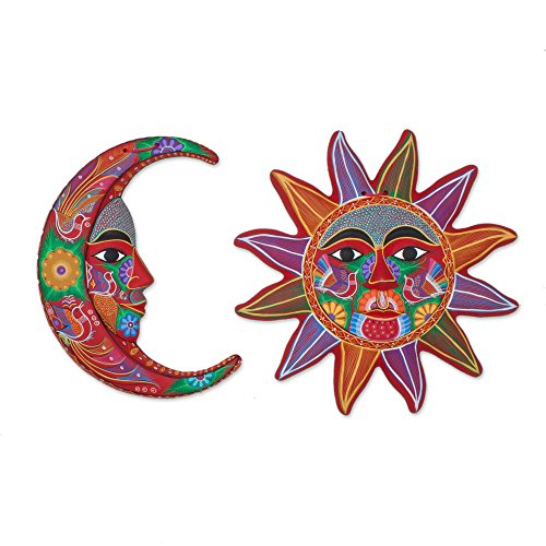 NOVICA Sun And Moon Ceramic Wall Art, Multicolor, 'Festive Moon And Sun' (Pair)