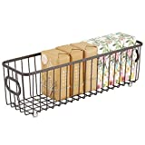 mDesign Metal Bathroom Storage Organizer Basket Bin - Farmhouse Wire Grid Design - for Cabinets, Shelves, Closets, Vanity Countertops, Bedrooms, Under Sinks - Long - Bronze