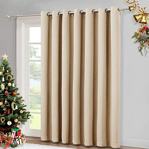 NICETOWN Extra Wide Patio Door Curtain - Energy Smart & Noise Reducing Grommet Thermal Insulated Wide Width Drapes, Sliding Door Curtain for Guestroom(Biscotti Beige, W100 x L84) (Curtains Gromet)
