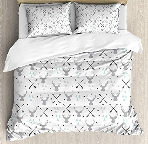 SINOVAL Antlers Duvet Cover Set King Size, Hunting Theme with Scandinavian Design Elements Arrows Triangles Deer,Fashion 3 Piece Bedding Set with 2 Pillow Shams, Grey Mint Green Black (Arrow Element)