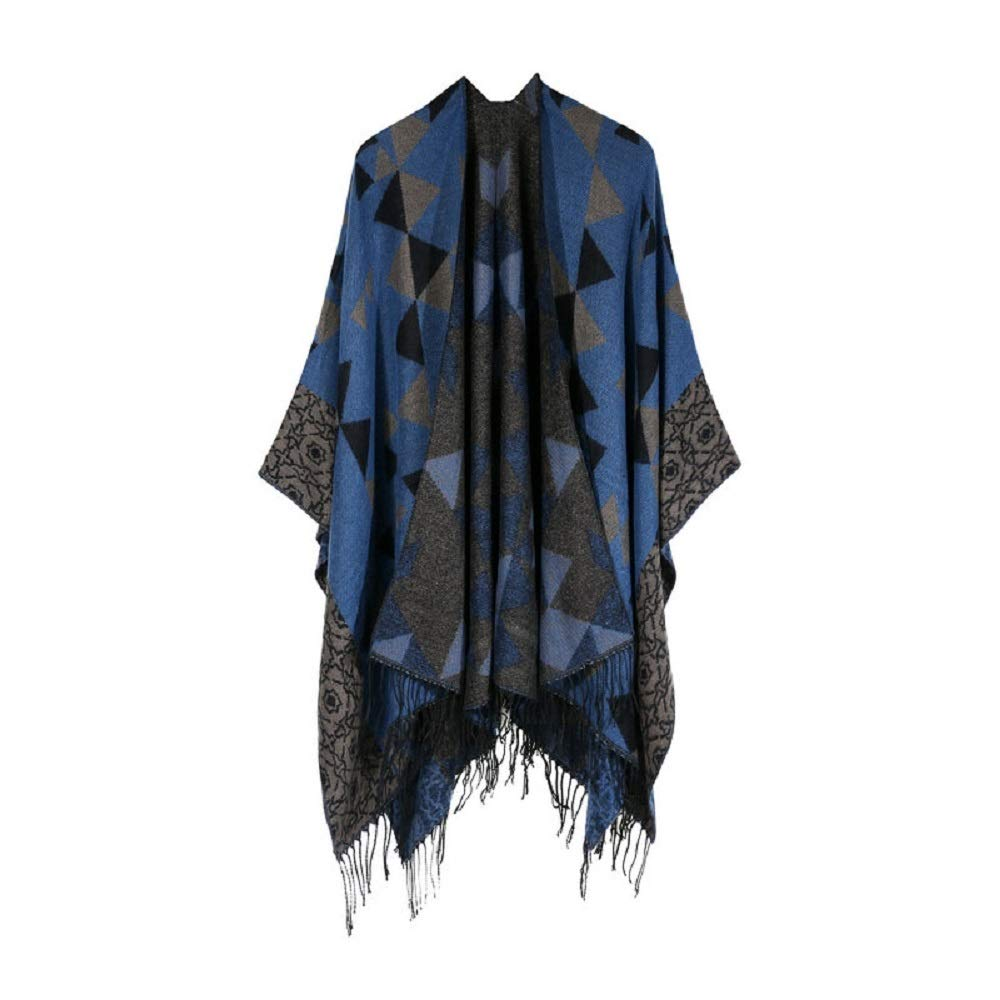 Excellent Women's Fall Winter Scarf Cloak Tassel Cape Mantle Scarf Ardent Flaccid Kerchief Wrap Shawl Scarves (Color : Blue, Size : 51.1 x 59.06 Inch') by Excellent
