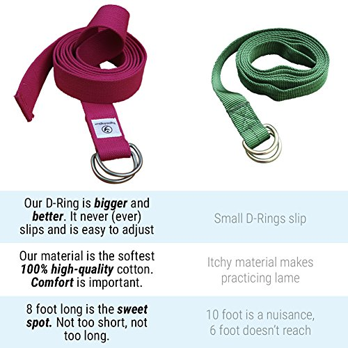"""THE Yoga Strap. 8 Foot Super Soft Durable No Slip D-Ring Belt Strap Best for Stretching, Poses, Increasing Flexibility, Balance and Compression for Restorative Yoga.""""Peace of Mind"""" Lifetime Guarantee"""