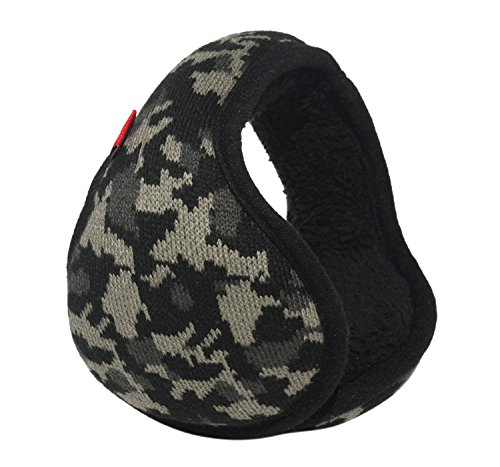 Mraw Woolen Yarn Black Camouflage Pattern Foldable/Adjustable Wrap around Earmuffs