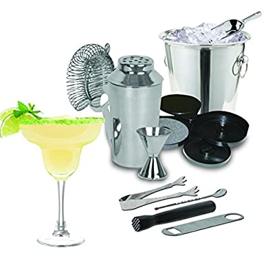Kitchen Gems 10 Piece Stainless Steel Cocktail Shaker Bar Tool Gift Set - Includes Cocktail Shaker with Ice Bucket and Glass Rimmer with Essential Bar Tools and Accessories