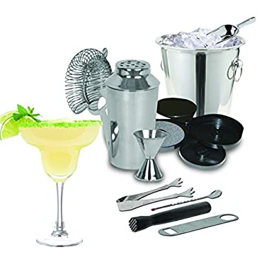 Kitchen Gems 10 Piece Stainless Steel Cocktail Shaker Bar Tool Gift Set - Includes 10 Pieces of Essential Bar Tools and Accessories