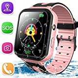 Kids Smart Watch Phone IP68 Waterproof GPS Tracker Watch for Ages 3-12 Girls Boys Two-Way Call SOS Micro Chat Camera Alarm Clock Math Game Gizmo Wrist Watch Electronic Learning Toys Birthday Gift