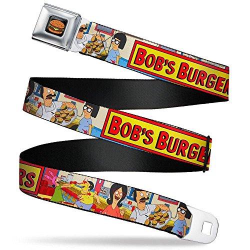 (Hamburger Full Color Black Seatbelt Belt - BOB'S BURGERS Belcher Family Group Pose6/Food Fight Inside Restaurant Webbing REGULAR)